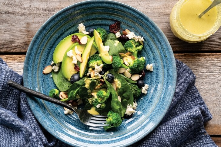 Blueberry Patch Salad with Curry Cashew Dressing