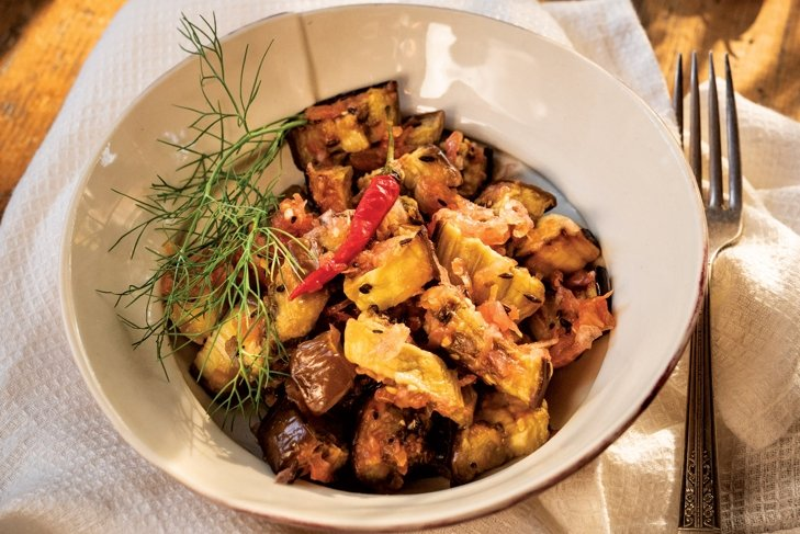 Indian Eggplant and Tomatoes with Fennel and Cumin