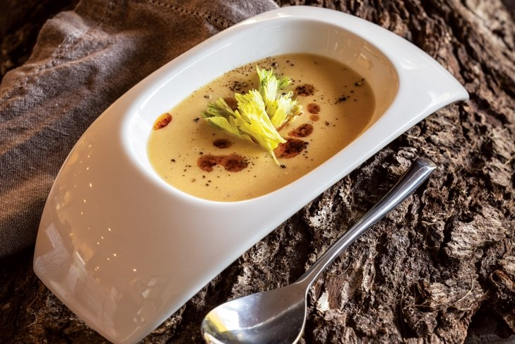 Butternut Squash and Apple Soup with Maple Syrup and Chili Oil