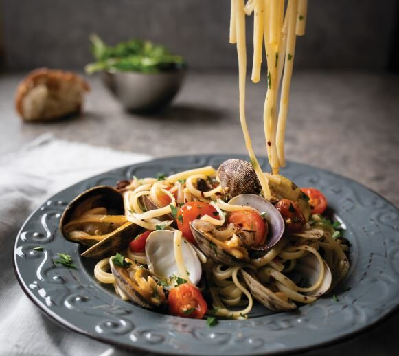 One-Pot Garlic-Laced Linguine with Baby Clams and Black Beans