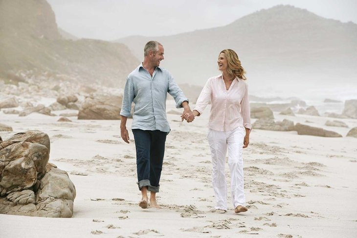Full length of happy couple holding hands while walking on beach