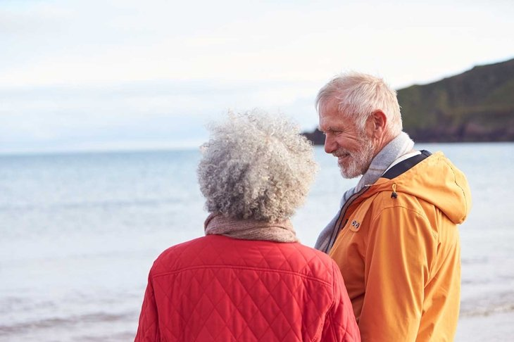 Rear View Of Senior Couple Holding Hands Looking Out To Sea On Winter Beach Vacation
