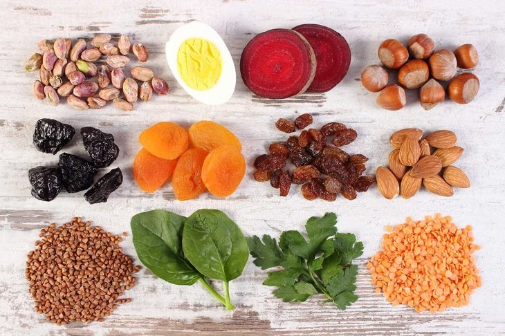 Ingredients containing iron and dietary fiber, natural sources of ferrum, healthy lifestyle, food and nutrition